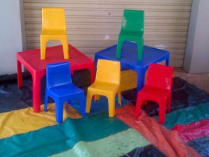 Tables and Chairs (Tables R10 each, Chairs R5 each)